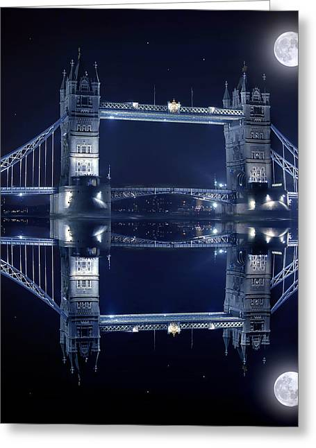 Famous Bridge Greeting Cards - Tower Bridge in London by night  Greeting Card by Jaroslaw Grudzinski