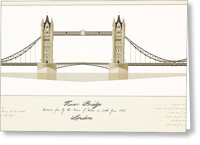 Historic Architecture Drawings Greeting Cards - Tower Bridge London Greeting Card by Justin Fagence