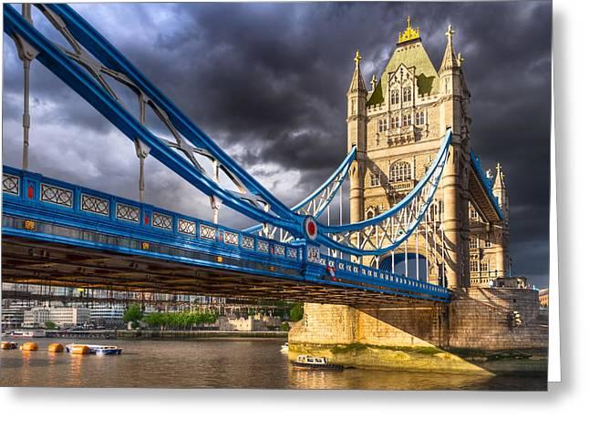 Neogothic Greeting Cards - Tower Bridge - London Landmark Greeting Card by Mark E Tisdale
