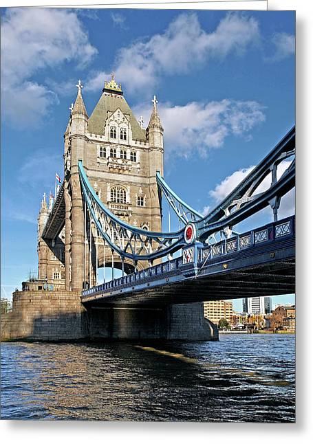 Tower Bridge London Vertical Greeting Card by Gill Billington