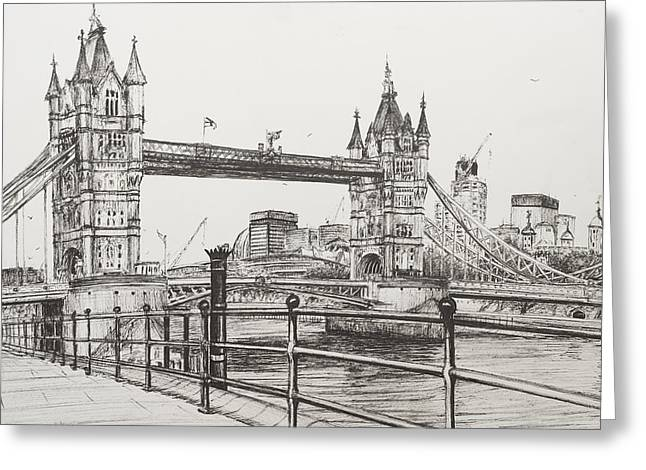 White River Drawings Greeting Cards - Tower Bridge Greeting Card by Vincent Alexander Booth