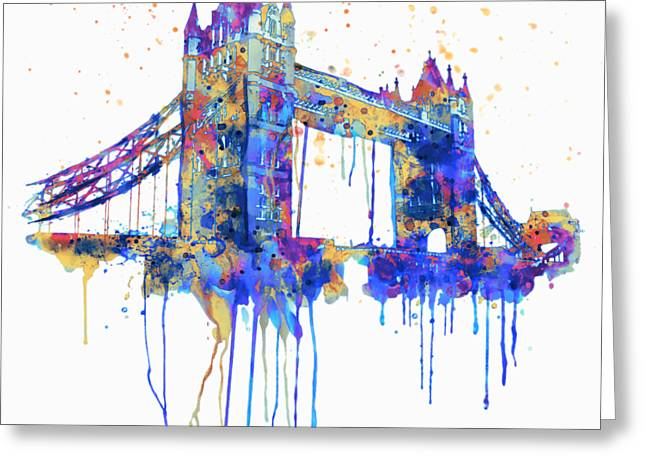 Tower Bridge Watercolor Greeting Card by Marian Voicu