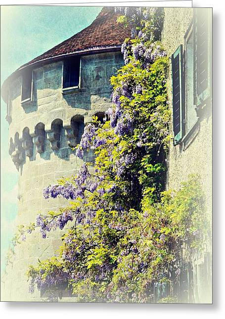 Swiss Photographs Greeting Cards - Tower in Bloom Greeting Card by Toni Abdnour