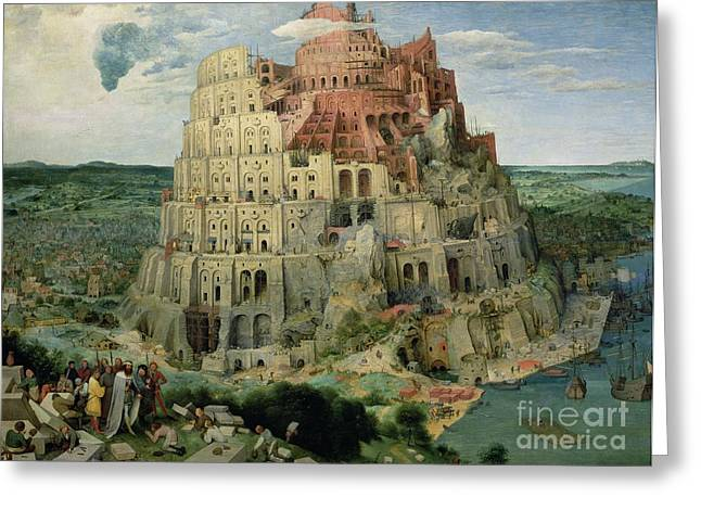 Old Tower Greeting Cards - Tower of Babel Greeting Card by Pieter the Elder Bruegel