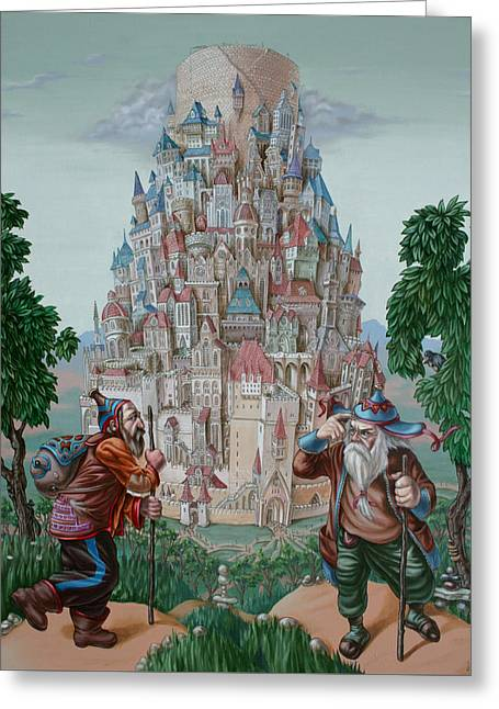 Testament Greeting Cards - Tower of Babel Greeting Card by Victor Molev