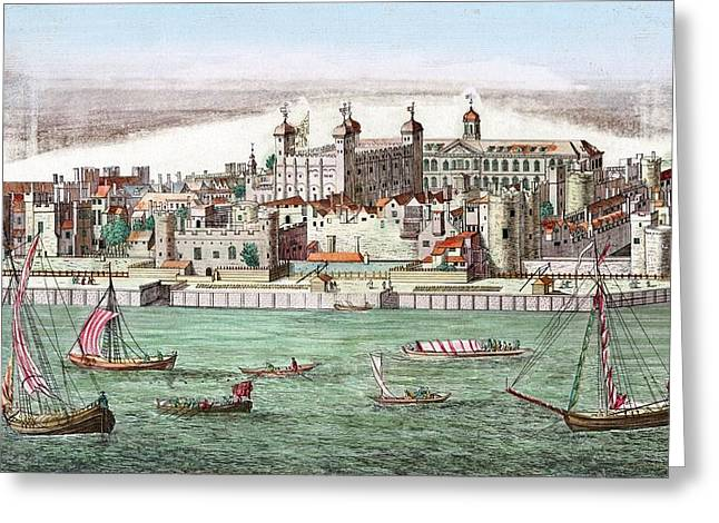 Mediaeval Greeting Cards - Tower Of London, Historical Artwork Greeting Card by Miriam And Ira D. Wallach Division Of Art, Prints And Photographsnew York Public Library