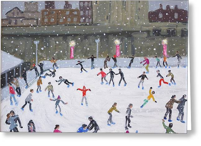 Ice-skating Greeting Cards - Tower of London Ice Rink Greeting Card by Andrew Macara