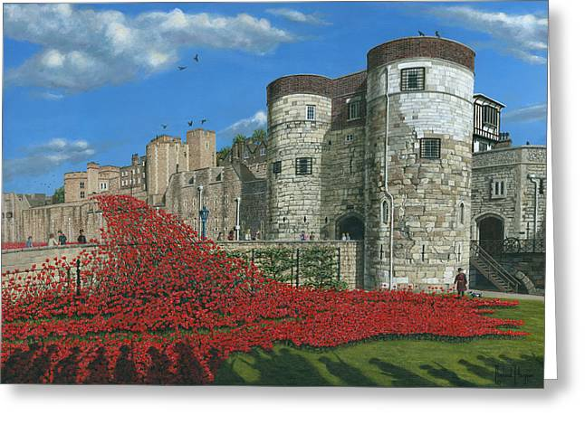 Tower Of London Poppies - Blood Swept Lands And Seas Of Red  Greeting Card by Richard Harpum