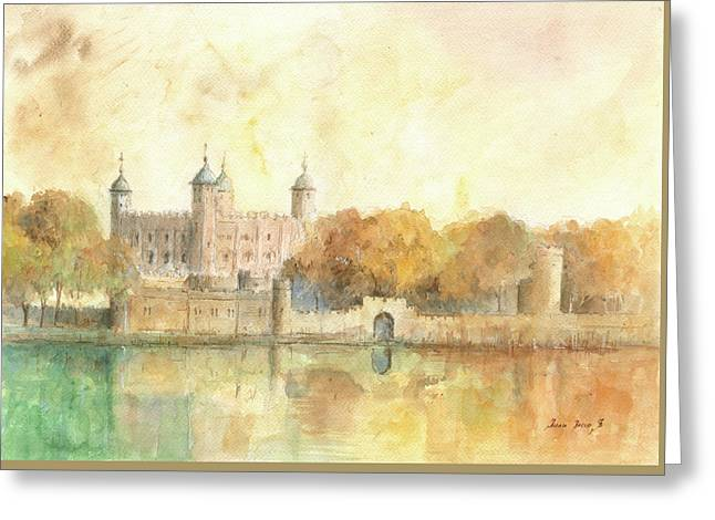 Tower Of London Watercolor Greeting Card by Juan Bosco