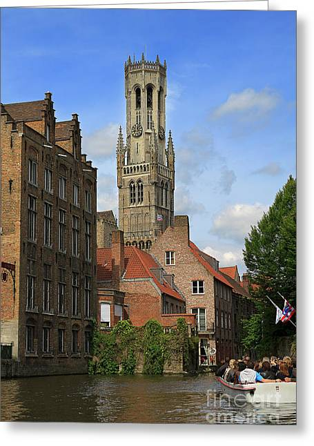 The North Greeting Cards - Tower of the Belfrey from the Canal at Rozenhoedkaai Greeting Card by Louise Heusinkveld