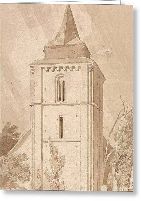 Tower Of The Village Church Of Saint Maclou, Normandy Greeting Card by John Sell Cotman