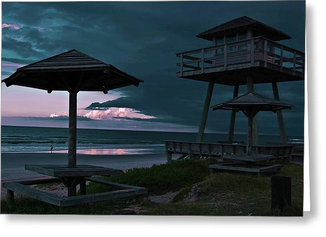 Blue Green Wave Greeting Cards - Tower Over the Shoreline Greeting Card by DigiArt Diaries by Vicky B Fuller