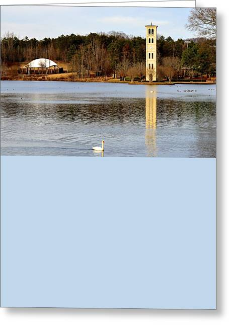 Furman Greeting Cards - Tower Reflection Greeting Card by Corinne Rhode