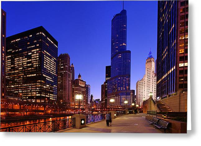 Night Scenes Greeting Cards - Tower View Greeting Card by Donald Schwartz