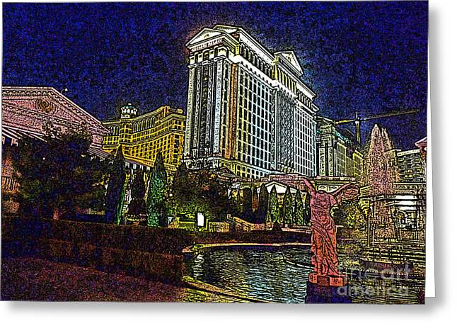 Caesars Palace Greeting Cards - Towering Caesars Greeting Card by David Bearden