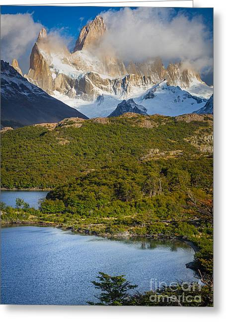 Andes Greeting Cards - Towering Giant Greeting Card by Inge Johnsson