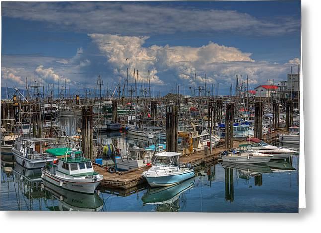 Fishing Boats Greeting Cards - Towering Greeting Card by Randy Hall