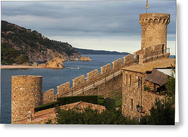 Towers And Battlement In Tossa De Mar Greeting Card by Artur Bogacki