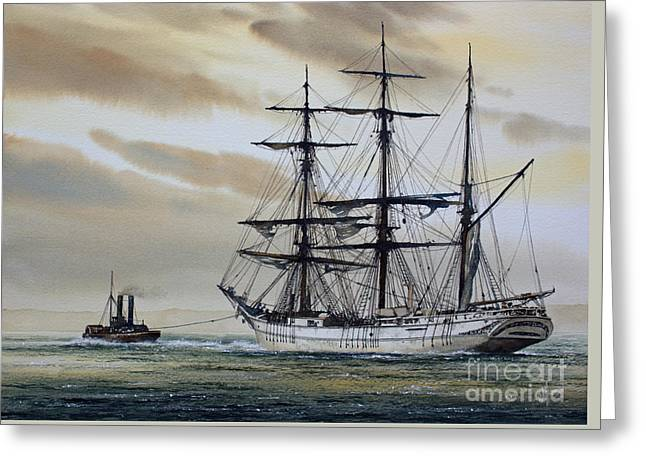 Tall Ship Canvas Greeting Cards - Towing Out to Sea Greeting Card by James Williamson
