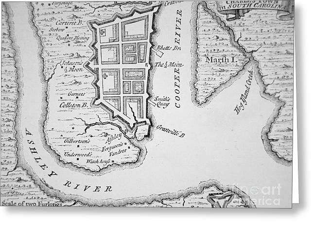 Town And Harbor Of Charleston South Carolina Greeting Card by American School