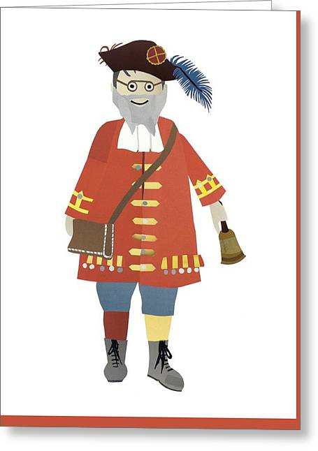 Full-length Portrait Mixed Media Greeting Cards - Town Crier Greeting Card by Isoebl Barber