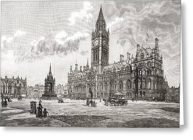 City Hall Drawings Greeting Cards - Town Hall, Albert Square, Manchester Greeting Card by Ken Welsh