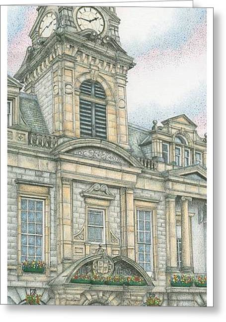 Entrance Door Greeting Cards - Town Hall Clock Kendal Cumbria Greeting Card by Sandra Moore