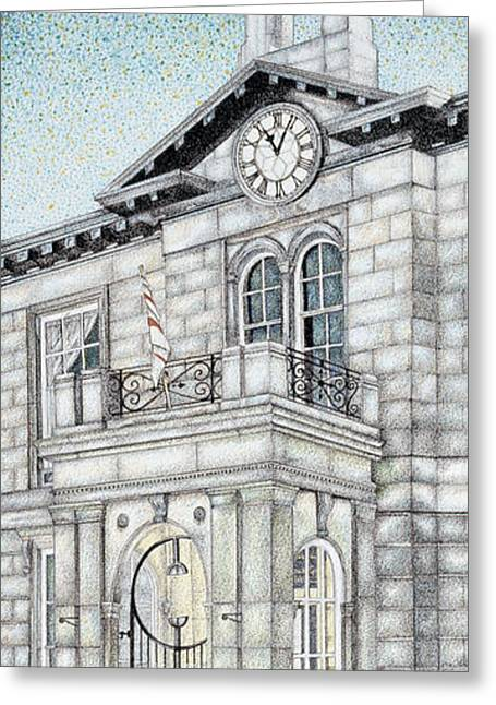 Entrance Door Greeting Cards - Town Hall Clock Kirkby Lonsdale Cumbria Greeting Card by Sandra Moore