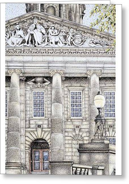 Blue And Green Drawings Greeting Cards - Town Hall Clock  Lancaster  Lancashire Greeting Card by Sandra Moore