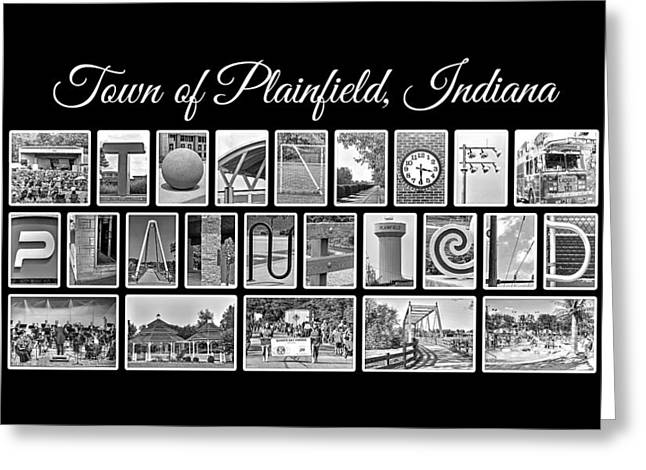 Quaker Tower Greeting Cards - Town of Plainfield Indiana in Black and White Greeting Card by Dave Lee