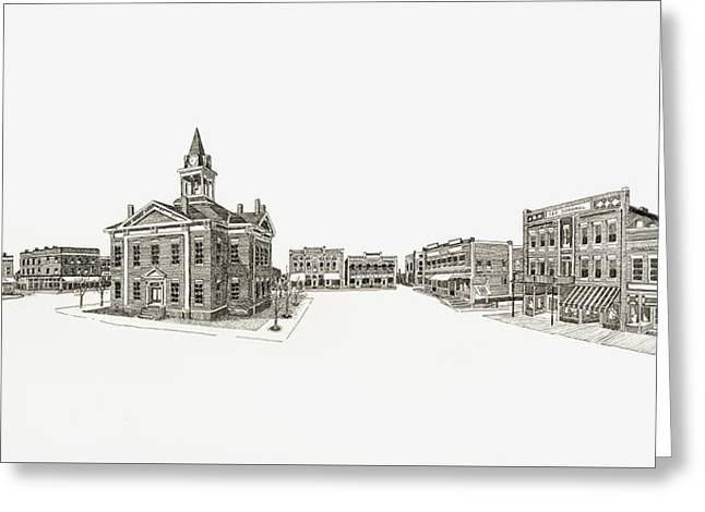Town Square Drawings Greeting Cards - Town Square 1912 Marion Illinois Greeting Card by Shawn Vincelette