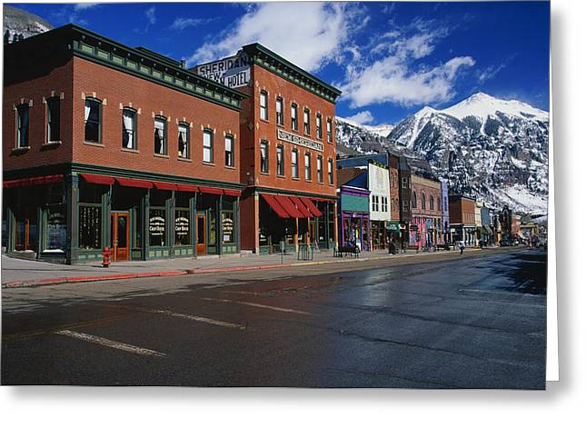 Main Street Greeting Cards - Town Stores Telluride Co Greeting Card by Panoramic Images