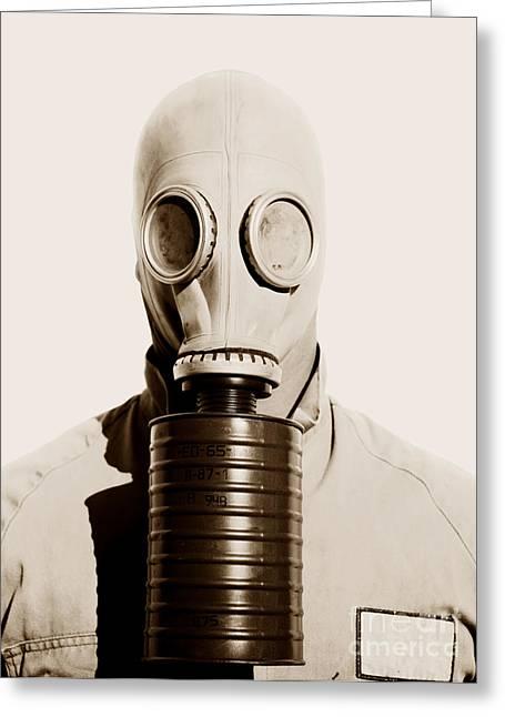 Gasmask Greeting Cards - Toxic 1942 Greeting Card by Ryan Jorgensen