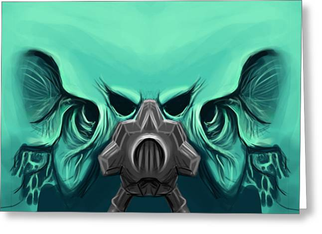 Gass Mask Greeting Cards - Toxic Demon Greeting Card by Vilius Krakauskas Designs
