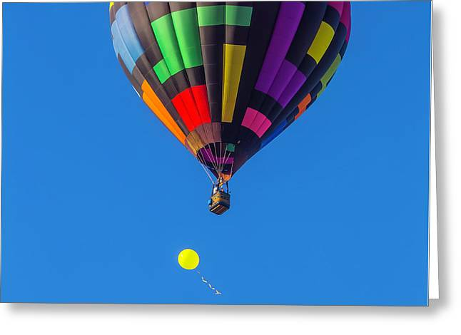 Toy Balloon And Hot Air Balloon Greeting Card by Garry Gay