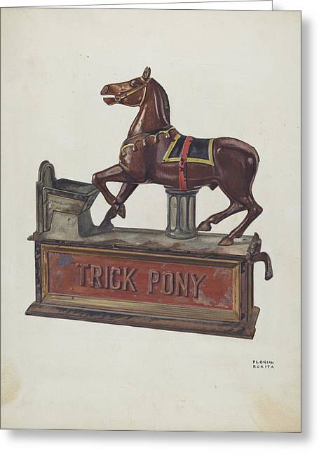Toy Bank - Trick Pony Greeting Card by Florian Rokita