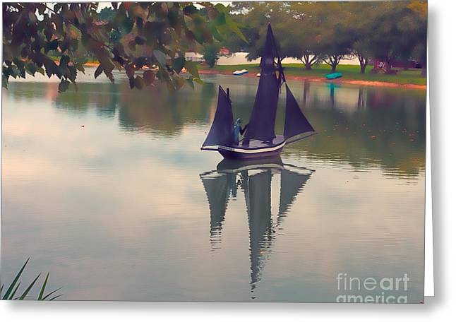 Toy Boat Greeting Cards - Toy Sailboat and Reflection Greeting Card by Terry Weaver