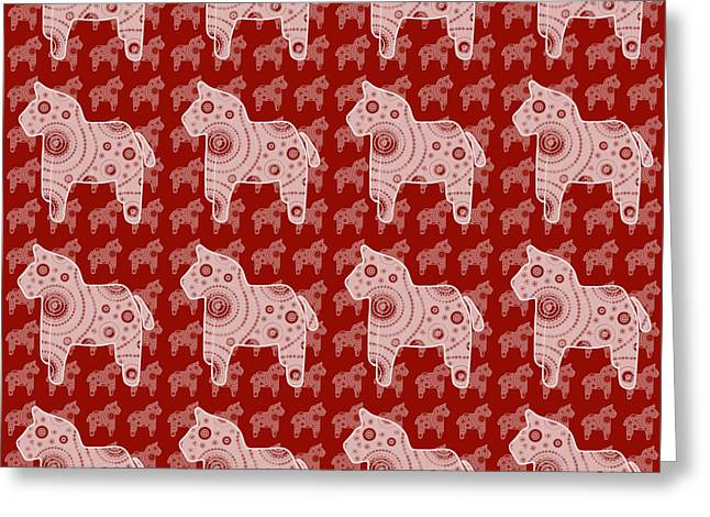 Child Toy Drawings Greeting Cards - Toy Horse Pattern Greeting Card by Frank Tschakert