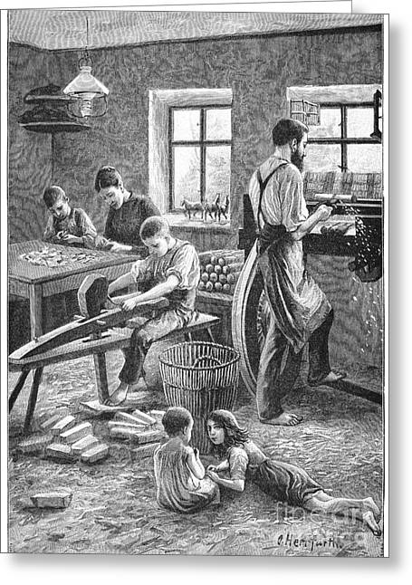 Making Toys Greeting Cards - Toy Manufacturing, 19th Century Greeting Card by Spl