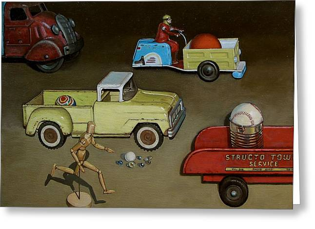 Baseball Paintings Greeting Cards - Toy Parade Greeting Card by Doug Strickland
