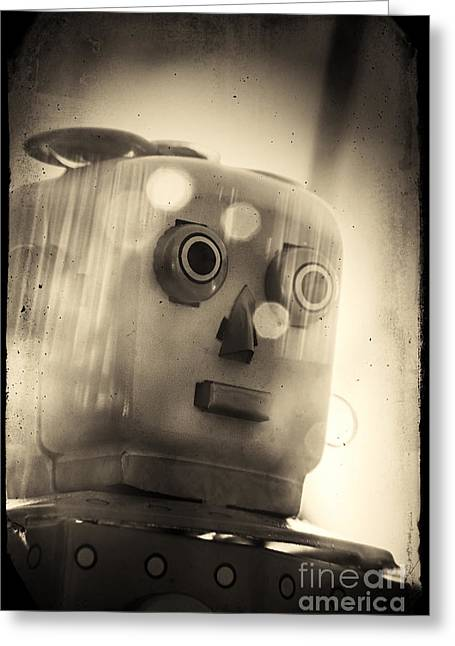 1950s Portraits Photographs Greeting Cards - Toy Robot Greeting Card by A Cappellari