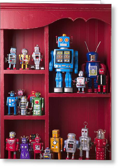 Toys Greeting Cards - Toy robots on shelf  Greeting Card by Garry Gay