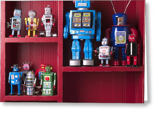 Toy robots on shelf  Greeting Card by Garry Gay