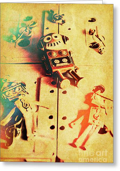Toy Robots On Vintage Cassettes Greeting Card by Jorgo Photography - Wall Art Gallery