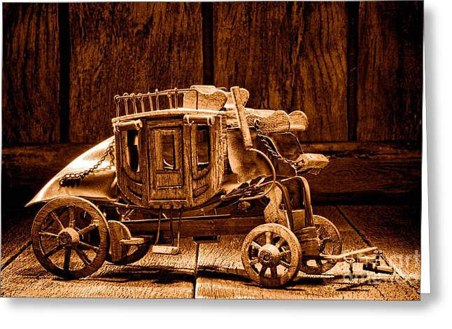 Toy Stagecoach - Sepia Greeting Card by Olivier Le Queinec