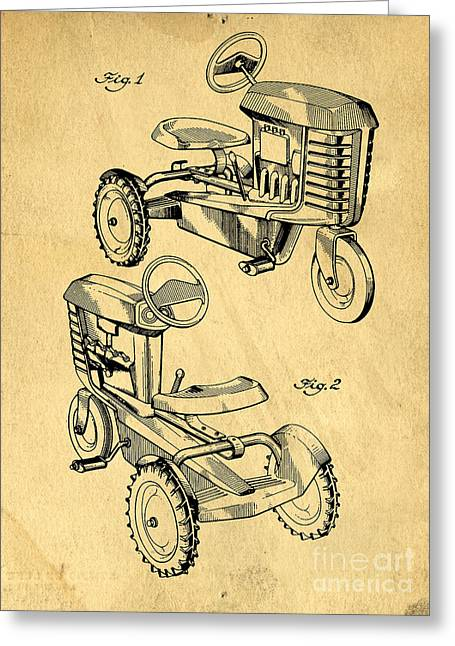 Ink Drawing Photographs Greeting Cards - Toy Tractor Patent Drawing Greeting Card by Edward Fielding