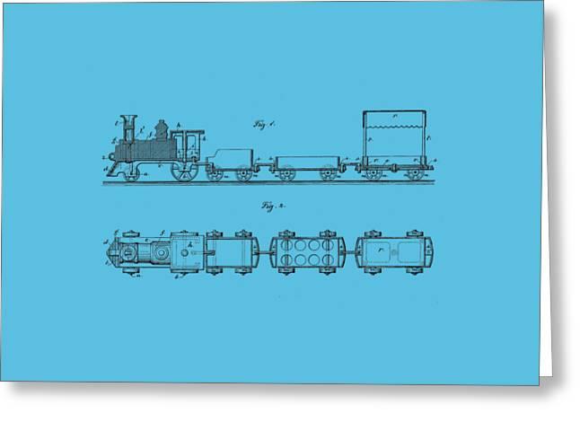 Toy Train Tee Greeting Card by Edward Fielding