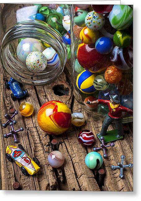 Old Wood Greeting Cards - Toys and marbles Greeting Card by Garry Gay