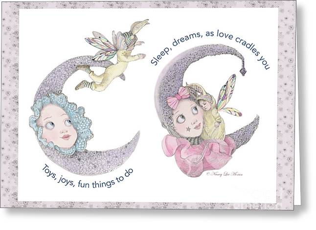 Toys, Joys, Baby And Moon, Lavender Border Greeting Card by Nancy Lee Moran
