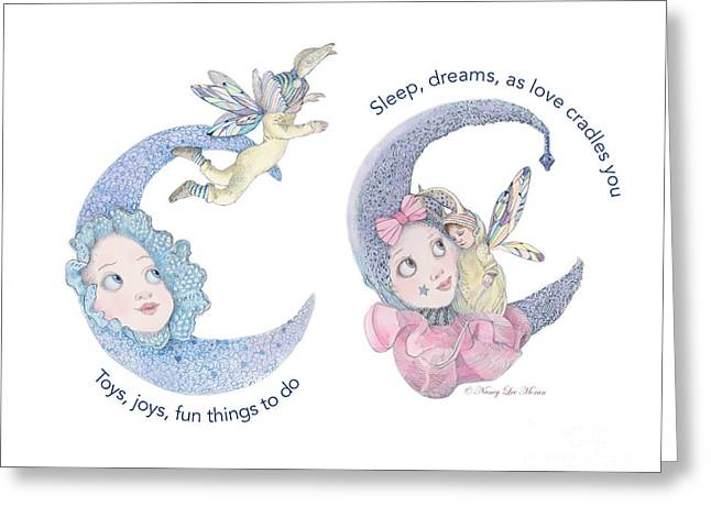 Toys, Joys, Baby And Moon Greeting Card by Nancy Lee Moran